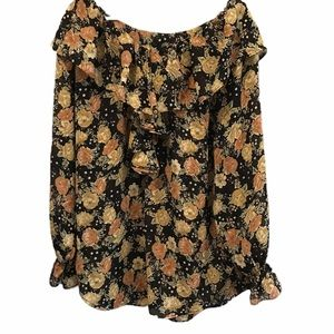 Floral print blouse long sleeve size large